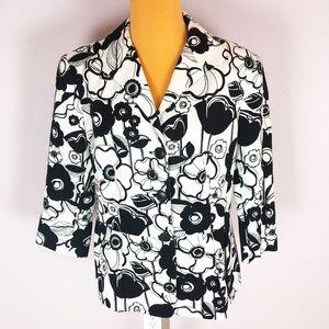 Lafayette 148 Black White Floral Blazer